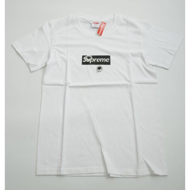 Supreme Box Logo Bullet Holes T-Shirt (White)