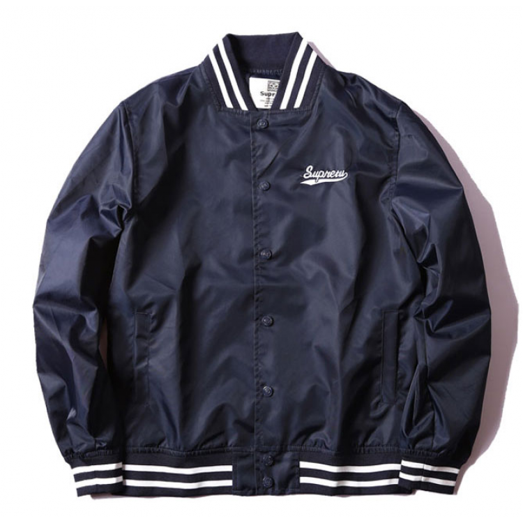 Supreme Label Baseball Jacket (Navy)