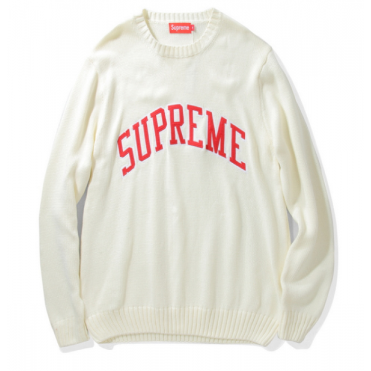 Supreme Label Knit Sweater (White)