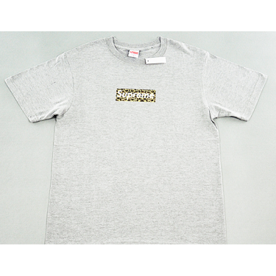 "Supreme ""Leopard Box Logo"" T-Shirt (Gray)"