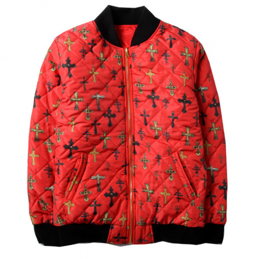 Supreme NYC All Over Cross Zip Up Jacket (Red)
