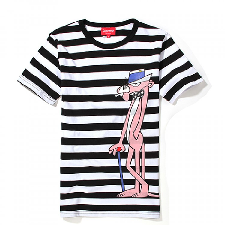 Supreme Pink Panther Stripes T-Shirt (Black/White)