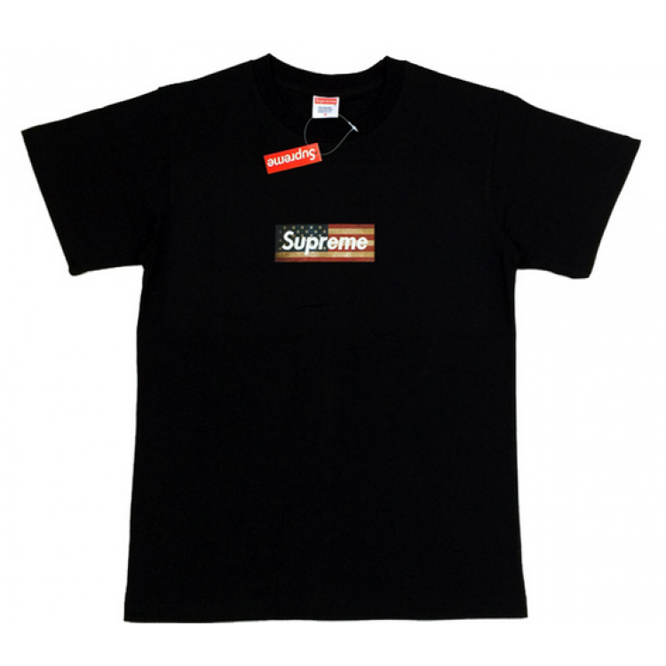 Supreme USA Flag Box Logo T-Shirt (Black)
