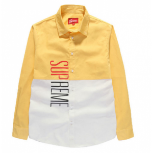 Supreme Vertical Panel Button Up Shirt (Yellow/White)