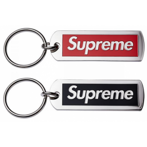 Supreme Banner Silver Key Chain (Red/Black)