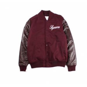 Supreme Logo Button Up Jacket (Maroon)